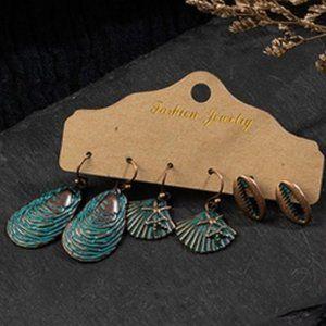 3/$20 New Seashell Earring Set Copper Teal